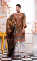 Embroidered florals front with Pearls & Beads  Digital Printed Lawn Shirt: 2.8 metre Digital Printed Lawn Dupatta: 2.5 yards Cambric Printed Trouser: 2.5 yards