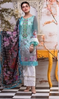 Embroidered florals Front Digital Printed Lawn Shirt: 2.8 metre Digital Printed Lawn Dupatta: 2.5 yards Cambric Printed Trouser: 2.5 yards