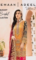 Chiffon Embroidered Front with Handwork Chiffon Embroidered Back Chiffon Embroidered Sleeves with Handwork Chiffon Embroidered Dupatta with Diamantes Organza Embroidered Front, Back, Bazu Border With Handwork Embroidered Silk Gharara Organza Embroidered Gharara Border