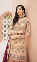 Chiffon Embroidered Front with Handwork Chiffon Embroidered Back Chiffon Embroidered Sleeves with Handwork Chiffon Embroidered Duppata with diamantes Organza Embroidered Front, Back, Bazu Border with Handwork Embroidered Net Gharara with diamantes Organza Embroidered Gharara Border with Diamantes Jamawar for Gharara Linning