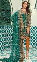 Chiffon Sequence Embroidered front along with Handwork  Embroidered Handwork Neckline  Chiffon embroidered back  Organza embroidered front and back Daman patches  Chiffon embroidered sleeves along with border patch  Chiffon embroidered duppata  Jamawar Dyed Trouser along with embroidered patch