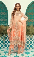 Embroidered Chiffon front panel with Boring  Handwork embroidered Neck line  Chiffon embroidered back center panel  Chiffon embroidered front and back panels  Embroidered daman front, back patches  Chiffon embroidered Sleeves along with embroidered lace  Dyed rawsilk trouser