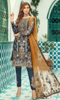 Chiffon Embroidered Front with Artistic Handwork  Chiffon Embroidered Back  Chiffon Embroidered Sleeves along with border patch  Embroidered Pallu duppatta on Net  Raw silk trouser with Embroidered motifs