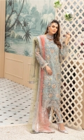 Embroidered Organza Handwork Front  Embroidered Organza Back  Embroidered Organza Handwork Embellished Border  Embroidered Organza Back Border  Embroidered Handwork Sleeves,  Embroidered Net Duppatta  Dyed Rawsilk Trouser