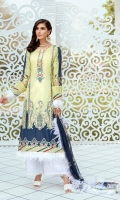 Lawn Embroidered Digital print front.             Lawn Digital print back and Sleeves. Lawn Embroidered front ,back border. Lawn Embroidered front patches. Lawn Embroidered lace for front panels. Lawn Embroidered front ,back and Sleeves border. Bemberg Chiffon Digital print dupatta . Dyed Cambric Emboze trouser.