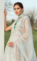 Lawn Embroidered boring front right and left panel. Lawn Embroidered boring front side panels. Lawn Embroidered back panels. Lawn Embroidered boring front  body. Lawn Embroidered boring back body. Lawn Embroidered Sleeves. Grip Embroidered boring Border for front and back. Grip Embroidered small lace for front and back. Organza Embroidered front and back body patch. Organza Embroidered lace for front and back. Organza Embroidered front and back border. Organza Embroidered Cut work patch for front and back. Organza Embroidered Cut work border for front and back. Khadii Net block print dupatta. Dyed Cambric trouser.