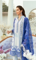 Dobi Lawn Embroidered front with ada work. Dobi Lawn Embroidered back. Dobi Lawn Embroidered Sleeves and trouser patch. Organza Embroidered Cut work patch for Sleeves. Organza Embroidered Cut work border for front,back and Sleeves. Khadii Net Embroidered dupata. Dyed Cambric trouser.