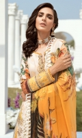 Lawn Embroidered Digital print front.             Lawn Digital print back and Sleeves. Lawn Embroidered front ,back and Sleeves border. Lawn Embroidered front patches. Lawn Embroidered lace for front panels. Lawn Embroidered bazu patch. Organza Embroidered Lace. Bemberg Chiffon Digital print dupatta . Dyed Cambric Emboze trouser.