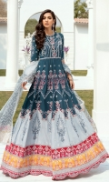 Lawn  Embroidered boring front body. Lawn Embroidered back body. Lawn Embroidered front and back panels. Lawn Embroidered front and back panel patches. Lawn Embroidered boring Sleeves. Lawn Embroidered front and back border. Lawn Embroidered Multi colour front, back and Sleeves borders. Lawn Embroidered lace for Sleeves. Khadii Net block print dupatta . Dyed Cambric trouser.