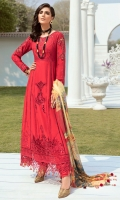 Lawn Embroidered boring front and back body. Lawn Embroidered boring front panel. Lawn Embroidered back center panel. Lawn Embroidered boring front and back side panels. Lawn Embroidered boring Sleeves. Organza Embroidered Cut work neck, front and Sleeves patches. Organza Embroidered Cut work border for front and back. Organza Embroidered Sleeves border. Bemberg Chiffon Digital print dupatta . Dyed Cambric trouser.