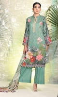2.5 Meters Digital Printed and Embroidered Lawn Shirt 0.5 Meter Lawn Sleeves 2.5 Meters Plain Trouser 2.5 Meters Printed Chiffon Dupatta