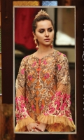 Embroidered chiffon front– 0.75 yard Embroidered chiffon back – 0.75yard Embroidered chiffon front and back side panel – 0.5yard Embroidered organza front and back border– 2 yard Embroidered net sleeves with cutwork -0.75 yards Chiffon dupatta -2.75 yard Embroidered organza dupatta border -2.75 yard Raw silk trouser -2.5 yards Embroidered organza trouser patch– 2 pcs