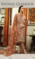 Embroidered chiffon front with sequence – 1 yard Embroidered chiffon back -1 yard Embroidered organza front and back border with sequence – 2 yard Chiffon sleeves– 0.75 yard Embroidered organza sleeves border with sequence– 1.5yard Embroidered chiffon dupatta with sequence – 2.75 yard Raw silk trouser – 2.5 yard Embroidered organza trouser border with sequence – 1 yard