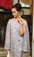 Embroidered chiffon front with sequence – 1 yard Embroidered organza front neck motif patch– 1 pcs Embroidered organza front border -1yard Embroidered chiffon back – 1 yard Embroidered chiffon sleeves with sequence – 0.75 yard Embroidered chiffon dupatta with sequence – 2.75 yard Embroidered organza dupatta border– 2.75yard Raw silk trouser– 2.5 yard Embroidered organza trouser patch– 2 pcs