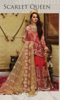 Embroidered chiffon front and back yoke with sequence Embroidered chiffon front and back with sequence–1.5 yard Embroidered chiffon sleeves with sequence – 0.75 yard Embroidered net dupatta with sequence– 2.75 yard Embroidered net lehnga front and back with sequence– 10 panels Embroidered organza lehnga front and back border with sequence – 3.25 yard