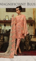 Embroidered chiffon front with sequence – 1 yard Embroidered chiffon back– 1 yard Embroidered chiffon sleeves with sequence – 0.75 yard Embroidered chiffon dupatta with sequence – 2.75 yards Raw silk trouser -2.5 yards