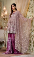 Embroidered front 1.44 yard chiffon. Embroidered back 1.44 yard chiffon. Embroidered sleeve 0.75 yard chiffon. Embroidered front+back body 0.75 yard chiffon Embroidered dupatta 2.5 yard net Trouser 3 yard jacquard