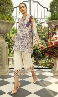 Shirt Front Embroidered on Lawn 1 Piece Shirt Back and Sleeves Digital Printed On Lawn 1 Piece Sleeves embroided border on organza Trouser embroided border on organza Daaman Embroidered Border On Organza  1 Piece Digital Printed Medium Silk Duppata 2.5 Meters Dyed Cambric Trouser  2.5 Meters
