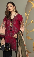 Shirt Front Embroidered on Lawn 1 Piece Shirt Back and Sleeves Digital Printed on Lawn 1 Piece Neckline Patti on Organza 1 piece Daman Embroidery Border On Organza 1 Piece Digital Printed Medium Silk Dupatta 2.5 Meters Screen Printed Cambric Trouser 2.5 Meters