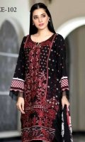 Viscose Embroidered Front  Printed Back & Sleeves  Chiffon Dupatta  Dyed Trouser  Embroidered Sleeves Patti
