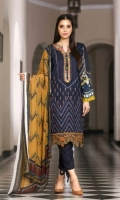Viscose Embroidered & Dyed Front  Printed Back & Sleeves  Chiffon Dupatta  Dyed Trouser  Emb Border Patti+Emb Neckline