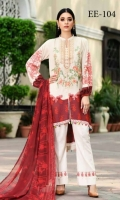 Viscose Embroidered & Printed Shirt  Chiffon Dupatta  Dyed Trouser  Embroidered Neckline