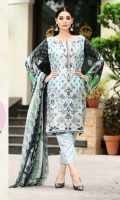 Viscose Embroidered & Print Front  Printed Back & Sleeves  Printed Chiffon Dupatta  Dyed Trouser  Embroidered Neckline+Border Patti