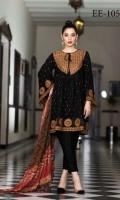 Viscose Embroidered & Dyed Shirt  Chiffon Dupatta  Dyed Trouser  Front & Back Emb Patti+Sleeves Patti+Emb Neckline