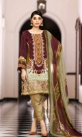 Pure Viscose Printed Shirt  Chiffon Dupatta  Dyed Trouser  Emb Neckline+border Patch+Emb Trouser Patti