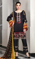 Pure Viscose Printed Shirt  Chiffon Dupatta  Dyed Trouser  Emb Neckline+Emb Border