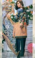 Embroidered Lawn Shirt  Chiffon Dupatta  Simple Trouser