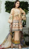 Airjet Lawn Embroidered Front  Printed Back & Sleeves  Bamber Chiffon Dupatta  Dyed Trouser