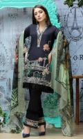 Airjet Lawn Embroidered Front  Printed Back & Sleeves  Printed Bamber Chiffon Dupatta  Dyed Trouser