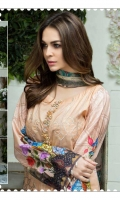 Airjet Lawn Embroidered Front  Printed Back & Sleeves  Embroidered Bamber Chiffon Dupatta  Dyed Trouser
