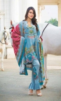 Karandi Printed Shirt  Synthetic Viscose Shawl  Cotton Dobbi Trouser  Embroidered Front patch  Embroidered Trouser motif