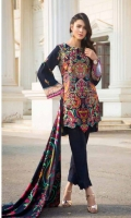 Mareena Linen Front Dyed and Embroidered  Mareena Linen Back & Sleeves Printed  Printed viscose Shawl  Dyed Trouser