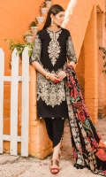Printed Lawn Shirt 2.94 Meter Printed Lawn Dupatta 2.55 Meter Dyed Cambric Trouser 2.50 Meter Embroidered Neck Line 1