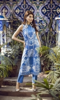 """Printed Lawn Shirt Front+Back 2.55M Printed Lawn Sleeves 25"""" Dyed Cambric Trouser 2.50M"""