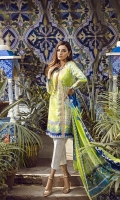 """Printed Lawn Shirt 2.55M Printed Lawn Sleeves 25"""" Printed Cotton Net Dupatta 2.55M Printed Cambric Trouser 2.50M Embroidered Neck Patti 1.25M"""