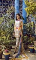 Printed Lawn Shirt 2.94M Printed Chiffon Dupatta 2.55M Printed Cambric Trouser 2.50M Embroidered Neck Patti 1.25M