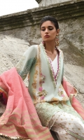 Printed Lawn Shirt 2.94 Mtr Yarn Dyed Tilla Dupatta 2.55 Mtr Printed Cambric Trouser 2.50 Mtr Embroidered Neck Patti 1 Mtr Embroidered Heim Border 28'' Embroidered Motifs 2