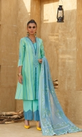 Yarn Dyed Lawn Shirt 2.94 Mtr Printed Paper Cotton Dupatta 2.54 Mtr Dyed Cambric Trouser 2.50 Mtr Embroidered Neck Line 1 pc Embroidered Sleeve Border 26''