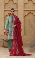 Embroidered Lawn Shirt Front 1.14 Mtr Yarn Dyed Poly Jacquard Back & Sleeves 1.78 Mtr  Dyed Brosha Net Dupatta 2.54 Mtr  Dyed Cambric Trouser 2.50 Mtr Printed Trim For Shirt 2 pcs Embroidered Sleeve Patti 26'' Embroidered Hem Border 26''