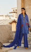 """Printed Jacquard Shirt 2.94 Mtr Dyed Poly Small Dot Dupatta 2.54 Mtr Dyed Cambric Trouser 2.50 Mtr Embroidered Hem Border 26"""" Embroidered Sleeves Border-A 26"""" Embroidered Sleeves Border -B 1 Mtr Embroidered Slits Patti 1.50 Mtr Embroidered Neck Patti 1 Mtr  Embroidered Motif For Shirt - A 1 pc  Embroidered Motif For Shirt - B 1 pc"""