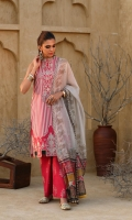 Printed Lawn Shirt 2.94 Mtr Printed Rocket Net Dupatta 2.54 Mtr Printed Cambric Trouser 2.50 Mtr Printed Trim For Shirt 2 pcs Embroidered Sleeve Border 26'' Embroidered Neck Line 1 pc