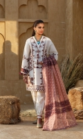 Embroidered Self Jacquard Shirt Front 3 panels Embroidered Self Jacquard Sleeves 25'' Self Jacquard Shirt Back 1.14 Mtr Yarn Dyed Fancy Dupatta 2.54 Mtr Printed Cambric Trouser 2.50 Mtr Printed Trim For Shirt 2 pcs Embroidered Hem Border 1 pc