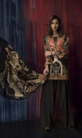 Printed M/Khaddar Shirt (Digital) 2.94M, Printed Wool Shawl 2.50M, Dyed Cambric Trouser 2.50M, Embroidered Neck 1 Piece