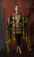 Printed Slub Khaddar Shirt (Digital) 2.94M, Printed Wool Shawl 2.50M, Dyed Cambric Trouser 2.50M, Embroidered Neck 1 Piece