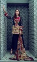 Printed Slub Khaddar Shirt 2.94M, Dyed Cambric Trouser 2.50M, Printed Chiffon Dupatta 2.55M, Embroidered Neck 1 Piece