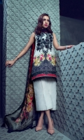 Printed Slub Khaddar Shirt (Digital) 2.94M, Dyed cambric trouser 2.50M, Printed chiffon Dupatta (Digital) 2.55M, Embroidered Neck 1 Piece